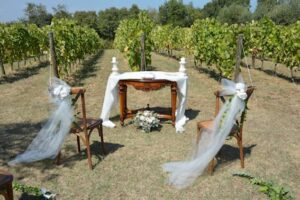wedding ceremony white flowers Italian vineyard wedding