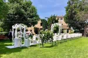 rose arch wedding ceremony Italian garden wedding venue