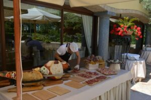 Italian chef cured meats buffet served country wedding venue