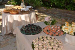 Italian wedding cuisine buffet canapes country wedding venue