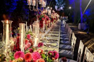 Villa Piccolomini, Specialist lighting and floral design for dining in the treelined avenue