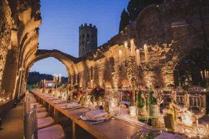 La Badia, Ex monastery, wedding venue outdoor ceremony and reception spaces.