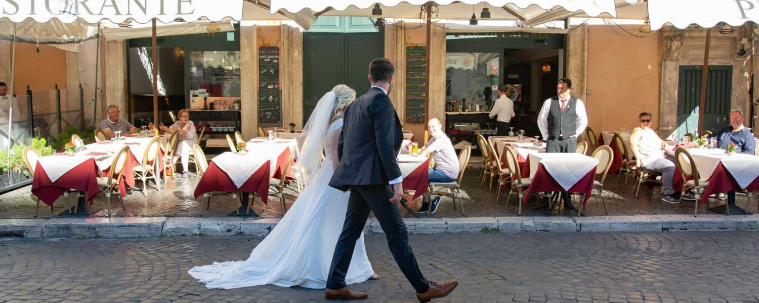 wedding couple at elopement wedding in Rome
