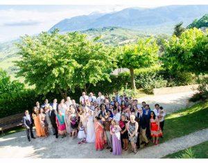 wedding group mountain view Italian countryside wedding venue