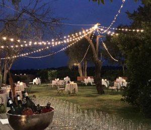 Italian garden wedding venue fairy lights wine resort
