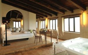 Luxury penthouse suite with panoramic views of countryside at Castello di Semivicoli Abruzzo Italy