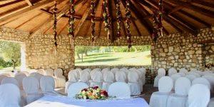 legal marriage ceremony in garden at wedding venue Abruzzo Italy