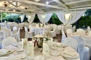 Outdoor dining white gazebo dancefloor wedding venue Italy
