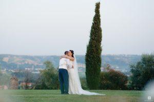 wedding couple lawned garden sea views Abruzzo Italy