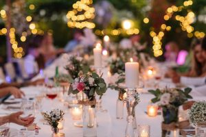 candles lights flowers dining table wedding Abruzzo Italy