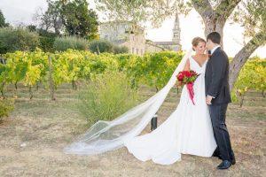 Wedding couple in wedding photo shoot at luxury vineyard wedding venue Castello di Semivicoli Abruzzo