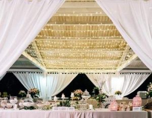 pink wedding confetti candy drapes fairy lights
