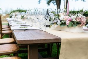 Wooden dining table wedding flowers country garden Abruzzo Italy