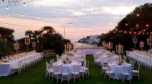 Rome coast Mediterranean castle. Luxury wedding in gardens, courtyard bridal suite. Castello Odescalchi Santa Marinella