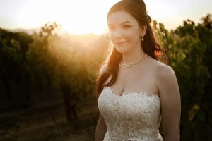 Bride in wedding photo shoot at luxury vineyard wedding venue in a castle in Abruzzo Italy