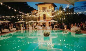 Stunning sea view wedding reception at unique luxury wedding Borgo Fonte Scura Abruzzo Italy