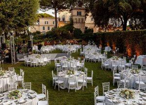 Outdoor dining at Villa Aurelia in Rome, view of the Secret Garden