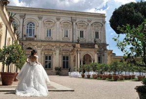 VIP luxury wedding venue Villa Aurelia central Rome, extensive gardens, terraces and elegant interiors.