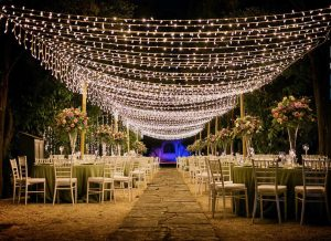 Luxury wedding venue featuring grand light displays