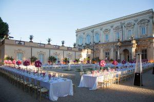Large luxury wedding venue Villa Aurelia central Rome, extensive gardens, terraces and elegant interiors.