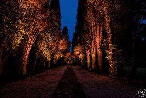 Villa Piccolomini in central Rome, image of the Illuminated gardens and grand terraces.