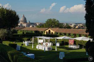 Vatican views from luxury wedding venue Villa Piccolomini central Rome, extensive gardens, terraces.