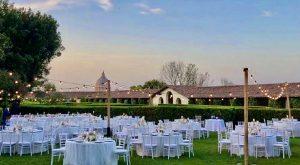 Vatican views from luxury wedding venue Villa Piccolomini central Rome, villa garden wedding reception.
