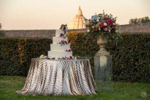 Luxury wedding cake at Italian wedding venue Villa Piccolomini in central Rome.