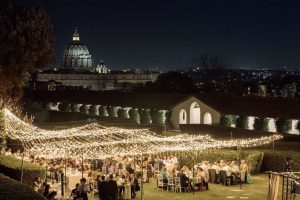 Nighttime view of a wedding in Rome, venue with a view of the Vatican